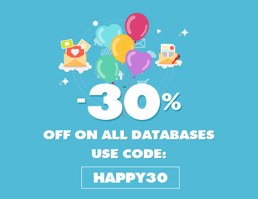 30% OFF ON ALL DATABSE